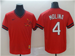 St. Louis Cardinals #4 Yadier Molina Throwback Red Jersey