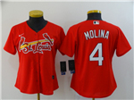 St. Louis Cardinals #4 Yadier Molina Women's Red 2020 Cool Base Jersey