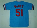 St. Louis Cardinals #51 Willie McGee 1982 Throwback Blue Jersey