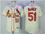 St. Louis Cardinals #51 Willie McGee Cream Flex Base Jersey