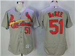 St. Louis Cardinals #51 Willie McGee Grey Flex Base Jersey