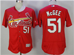 St. Louis Cardinals #51 Willie McGee Red Flex Base Jersey