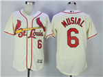 St. Louis Cardinals #6 Stan Musial Cream Flex Base Jersey