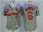 St. Louis Cardinals #6 Stan Musial Grey Flex Base Jersey