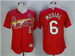 St. Louis Cardinals #6 Stan Musial Red Flex Base Jersey