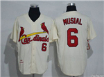 St. Louis Cardinals #6 Stan Musial Throwback Cream Jersey