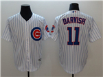 Chicago Cubs #11 Yu Darvish Home White Pinstripe Cool Base Jersey