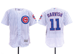 Chicago Cubs #11 Yu Darvish Home White Pinstripe Flex Base Jersey