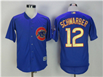 Chicago Cubs #12 Kyle Schwarber Blue World Series Champions Gold Program Cool Base Jersey