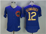 Chicago Cubs #12 Kyle Schwarber Blue World Series Champions Gold Program Flex Base Jersey
