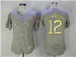 Chicago Cubs #12 Kyle Schwarber Grey World Series Champions Gold Program Flex Base Jersey