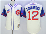 Chicago Cubs #12 Kyle Schwarber Cream 1942 Turn Back The Clock Cool Base Jersey