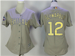 Chicago Cubs #12 Kyle Schwarber Women's Grey World Series Champions Gold Program Cool Base Jersey