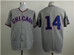 Chicago Cubs #14 Ernie Banks 1968 Throwback Grey Jersey
