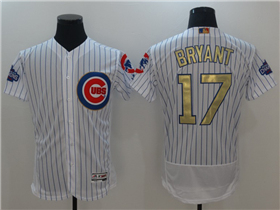 Chicago Cubs #17 Kris Bryant White 2017 Gold Program Flex Base Jersey