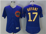 Chicago Cubs #17 Kris Bryant Blue World Series Champions Gold Program Flex Base Jersey