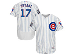 Chicago Cubs #17 Kris Bryant 2016 World Series Patch White Pinstripe Flex Base Jersey