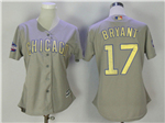 Chicago Cubs #17 Kris Bryant Women's Grey World Series Champions Gold Program Cool Base Jersey