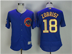 Chicago Cubs #18 Ben Zobrist Blue World Series Champions Gold Program Flex Base Jersey