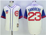 Chicago Cubs #23 Ryne Sandberg Cream 1942 Turn Back The Clock Cool Base Jersey