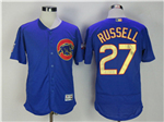 Chicago Cubs #27 Addison Russell Blue World Series Champions Gold Program Flex Base Jersey