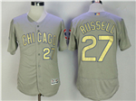 Chicago Cubs #27 Addison Russell Grey World Series Champions Gold Program Flex Base Jersey