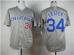 Chicago Cubs #34 Jon Lester Grey 1990 Turn Back The Clock Jersey