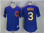Chicago Cubs #3 Davis Ross Blue World Series Champions Gold Program Flex Base Jersey