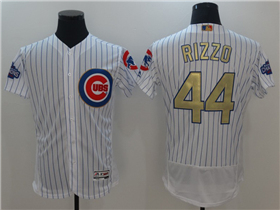 Chicago Cubs #44 Anthony Rizzo White 2017 Gold Program Flex Base Jersey