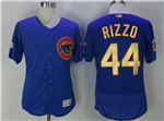Chicago Cubs #44 Anthony Rizzo Blue World Series Champions Gold Program Flex Base Jersey