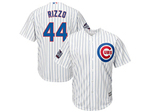 Chicago Cubs #44 Anthony Rizzo 2016 World Series Patch White Pinstripe Cool Base Jersey