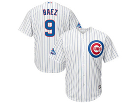 Chicago Cubs #9 Javier Baez 2016 World Series Champions White Pinstripe Cool Base Jersey