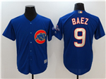 Chicago Cubs #9 Javier Baez Blue World Series Champions Gold Program Cool Base Jersey