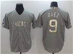 Chicago Cubs #9 Javier Baez Grey World Series Champions Gold Program Cool Base Jersey