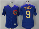 Chicago Cubs #9 Javier Baez Blue World Series Champions Gold Program Flex Base Jersey