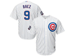 Chicago Cubs #9 Javier Baez 2016 World Series Patch White Pinstripe Cool Base Jersey