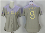 Chicago Cubs #9 Javier Baez Women's Grey World Series Champions Gold Program Cool Base Jersey