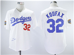 Brooklyn Dodgers #32 Sandy Koufax 1955 Throwback White Jersey
