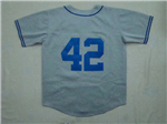 Brooklyn Dodgers #42 Jackie Robinson 1955 Throwback Gray Jersey
