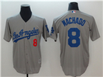 Los Angeles Dodgers #8 Manny Machado Grey Cool Base Jersey