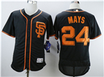 San Francisco Giants #24 Willie Mays Black Flex Base Jersey