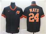 San Francisco Giants #24 Willie Mays Throwback Black Jersey