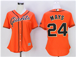 San Francisco Giants #24 Willie Mays Women's Orange Cool Base Jersey