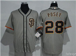 San Francisco Giants #28 Buster Posey Alternate Road Grey Cool Base Jersey