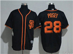 San Francisco Giants #28 Buster Posey Black Cool Base Jersey