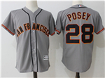 San Francisco Giants #28 Buster Posey Grey Cool Base Jersey