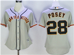 San Francisco Giants #28 Buster Posey Women's Grey Cool Base Jersey