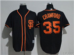 San Francisco Giants #35 Brandon Crawford Black Cool Base Jersey