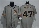 San Francisco Giants #47 Johnny Cueto Alternate Road Grey Cool Base Jersey