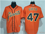 San Francisco Giants #47 Johnny Cueto Orange Cool Base Jersey